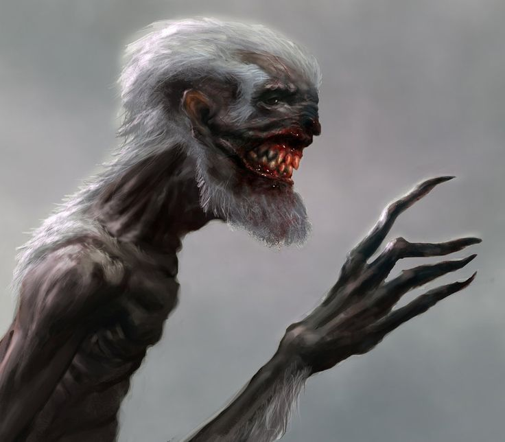 The Wendingo. A creature from Native American lore that warns against the horrors of cannibalism. Gaunt and decrepit.