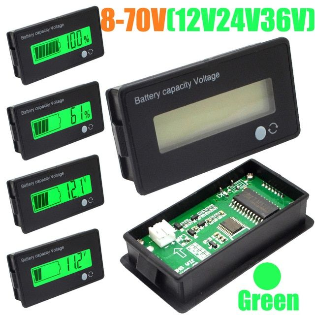 LED  Level Indicator Voltmeter Lead Acid LiFePO4 Lithium Li-ion Battery Capacity