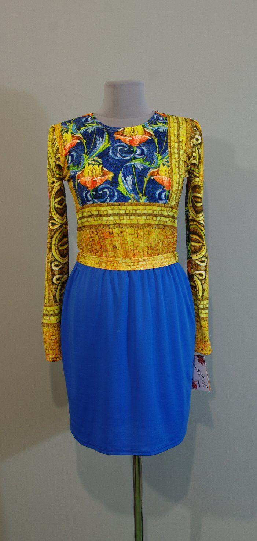 Желто-синее платье с юбкой тюльпан, Украина сайт Платье-терапия