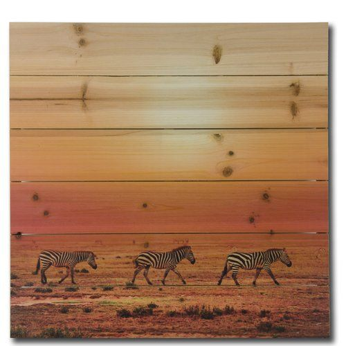 Gallery 57 'Zebras Strolling' Photographic Print on Wood