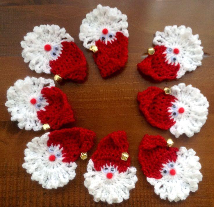 Crochet Santa Faces. Made by Jo Butterfield. ButterZ. Xmas giftsl