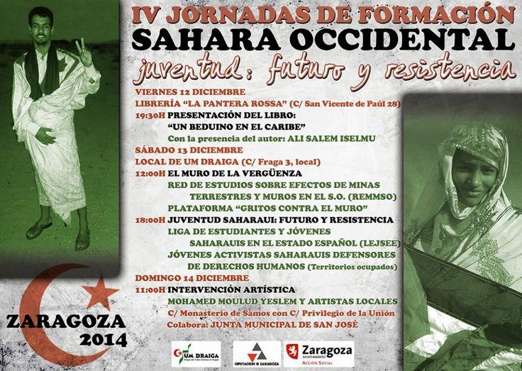"""IV JORNADAS DE FORMACIÓN – SAHARA OCCIDENTAL. """"Juventud : futuro y resistencia"""". ZARAGOZA 12 y 13 diciembre de 2014-UM DRAIGA"""