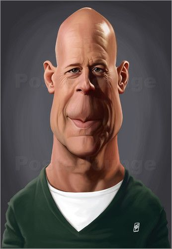 Rob Snow | caricatures - Bruce Willis art | decor | wall art | inspiration | caricature | home decor | idea | humor | gifts