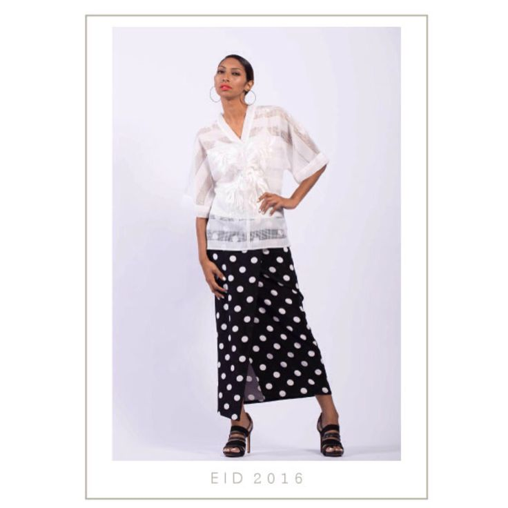 Fashion brand collection RTW EID 2016 Hijab Muslimah Kurung Kedah modern contemporary polka dots white monochrome urban resort chic Sydney Australia