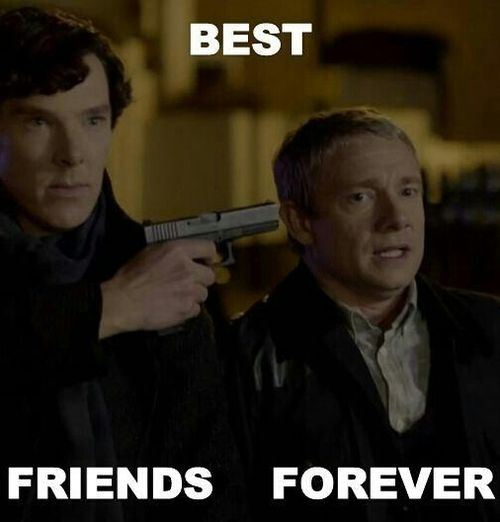 This is perfection. (Even though Sherlock was doing it to protect John and himself, so they could get away together, it still is pretty hilarious)
