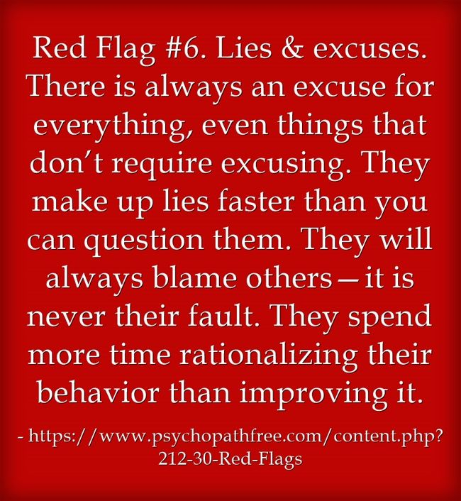 Red Flag #6. Lies & excuses. There is always an excuse for everything, even things that don't require excusing. They make up lies faster than you can question them. They will always blame others—it is never their fault. They spend more time rationalizing their behavior than improving it.