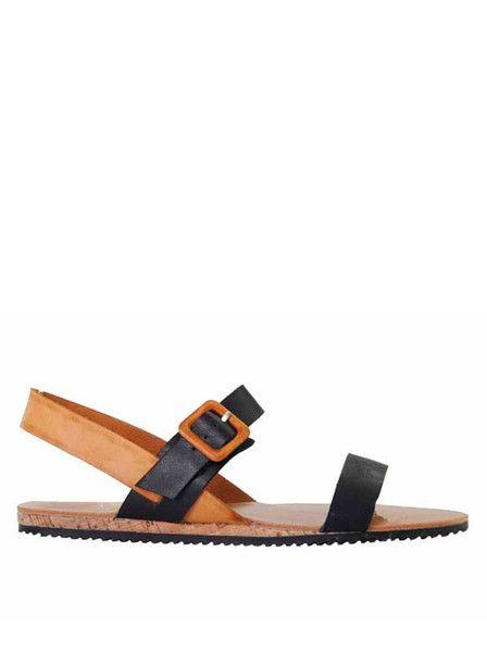 Soles - Shoes - Deakin Sandals - Black - Cognac - Leather  $99.90