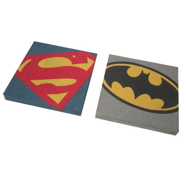 Comics : BATMAN e SUPERMAN - pannelli decorativi in cartapesta da cm. 25x25 - Fukumaneki.it - Cartapesta, pannelli, oggetti, complementi, arredo, bomboniere, animali, simboli, design, arredamento - made in italy www.facebook.com/...