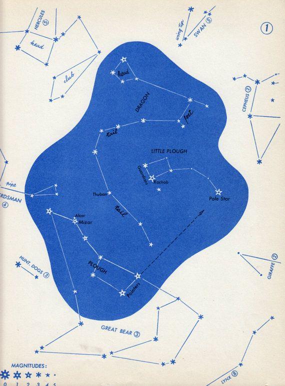 1966 Big Dipper Little Dipper Dragon constellation chart vintage Astronomy star map 1 star chart astronomy decor