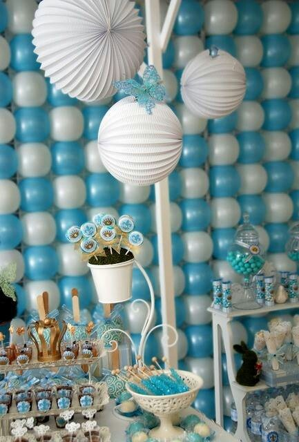 Blue and white treat table; balloon backdrop