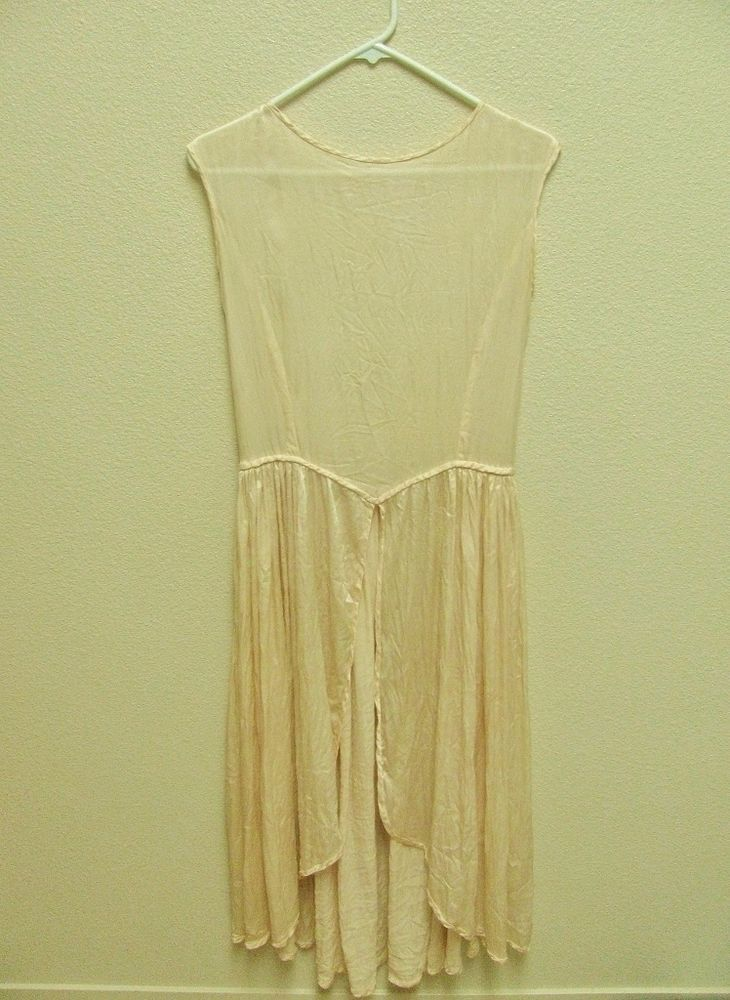 ANTIQUE REAL SATIN SLEEVELESS FLAPPER WEDDING DRESS, MID CALF LENGTH #Unbranded #Flapper #Formal