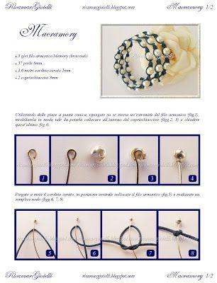 TUTORIAL Macramory bracciale realizzato con filo armonico, macramè e perle