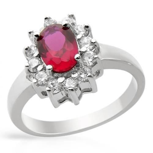 Ring With Cubic Zirconia - Size 8 Size 8. Stylish ring with cubic zirconia and created ruby made of 925 sterling silver. Total item weight 3.5g. Gemstone info: 1 created ruby, 0.62ctw., oval shape and pinkish red color, 12 cubic zirconias, 1.20ctw., round shape and white color.