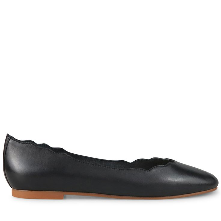 Crafted from supple black leather, these feminine flats are the perfect everyday staple. With a pretty scalloped laser cut topline and delicate rounded toe, Cheeky is a modern take on the classic ballet flat.   Leather Upper  Leather Linin