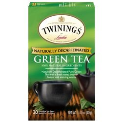 Decaffeinated Green tea from Twinings is a pure green tea bag.  It's alright, basic green tea but without a very strong vegetal taste or much character.  The finish is dry and has a light liquor.  Probably a good way to get those green tea benefits without a caffeinated drink.  Can't really rave about it anymore than that.