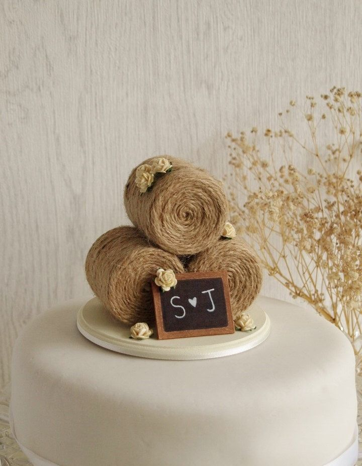 Rustic Hay Bale Wedding Cake Topper With Roses