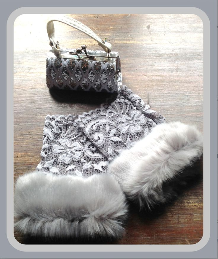 Grey fingerless lace gloves with faux grey fur.