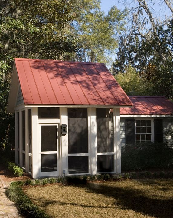 Tool shed attached to screened porch