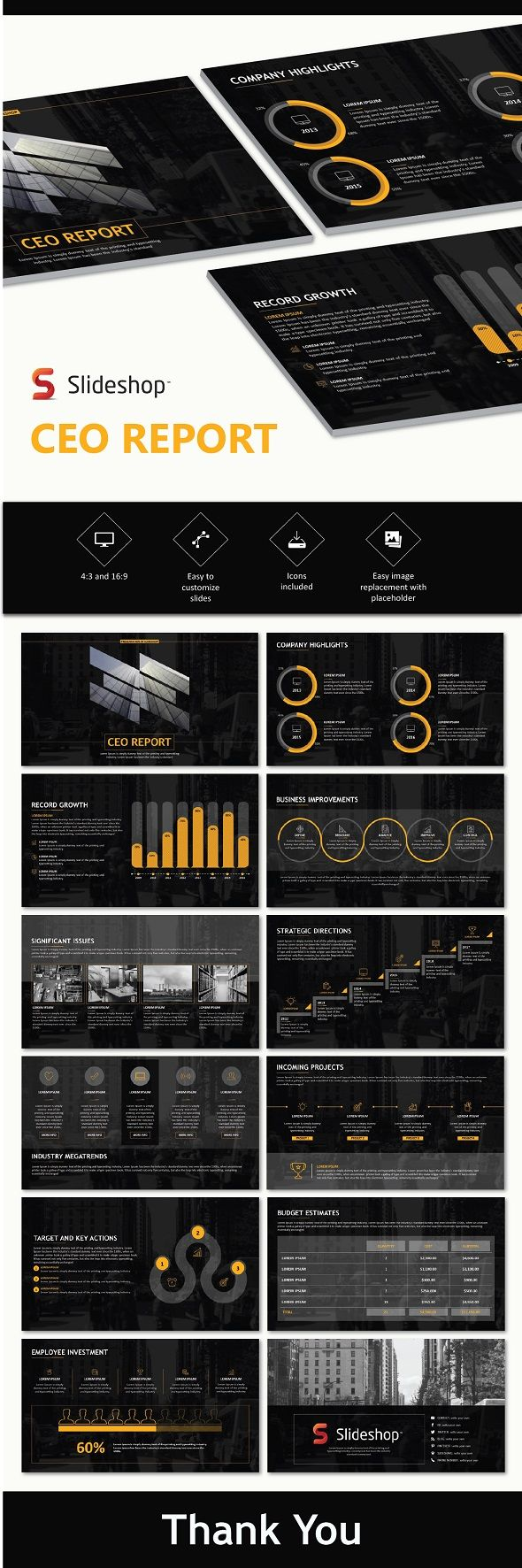CEO Report - Business PowerPoint Templates
