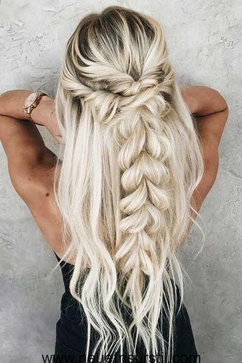 Halfte Geflochtene Lange Haare Frisuren