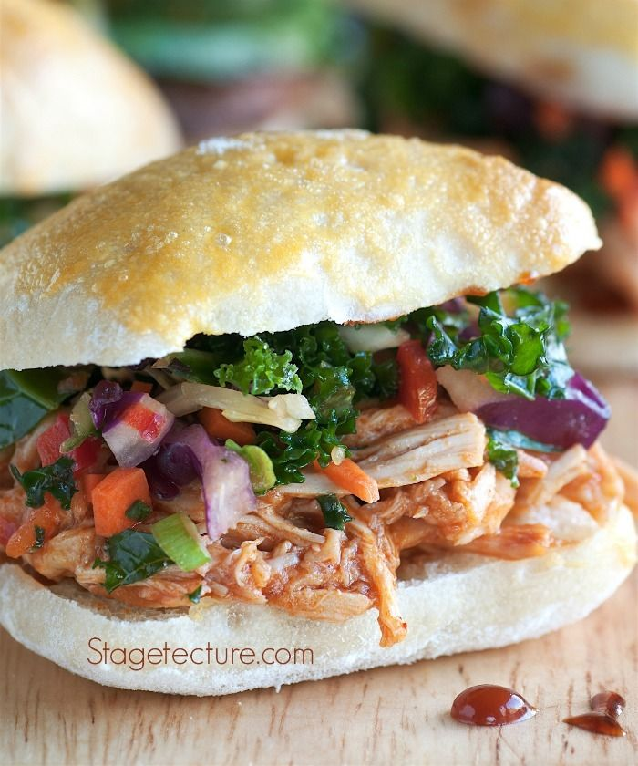 Slow Cooker Chicken Recipe: The Best Pulled Chicken Sandwiches. Serve these with your game day menu or anytime for instant smiles around the party! http://stagetecture.com/slow-cooker-chicken-recipe-best-pulled-chicken-sandwiches/ #slowcooker #crockpot #recipe