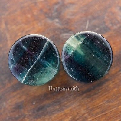 "Rainbow Fluorite  Stone Plugs Double Flared Ear Lobe - 2g 0g 00g 7/16 1/2 9/16 5/8 3/4 7/8 1"""