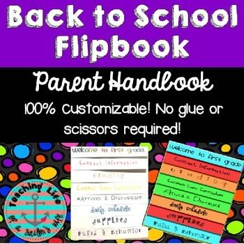 100% Editable / Customizable Back-to-School Parent Handbook Flipbook -- No Scissors or Glue Required! There are tons of cute, colorful parent handbooks floating around TPT and Pinterest, but they all seem to require cutting, gluing and fighting with the copy machine.