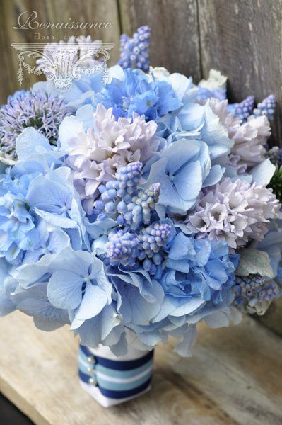 650 best blue wedding flowers images on pinterest bridal something blue globe thistle muscari hyacinth powder hydrangea delphinium junglespirit Images