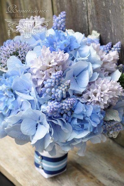 Globe Thistle, muscari, Hyacinth, Powder Hydrangea, Delphinium