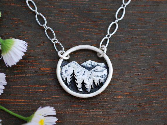 Mountain Landscape Necklace  Circle Nature by GatherAndFlow