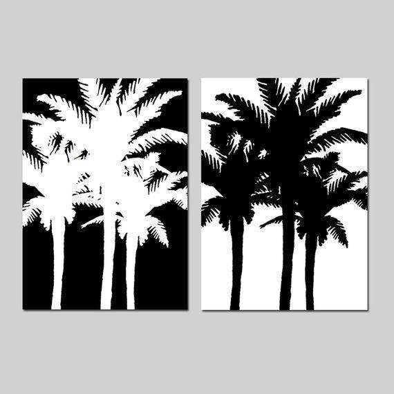 Palm Tree Prints Palm Tree Art Set Of Two Tropical Prints Etsy Palm Tree Art Tree Art Tropical Wall Art