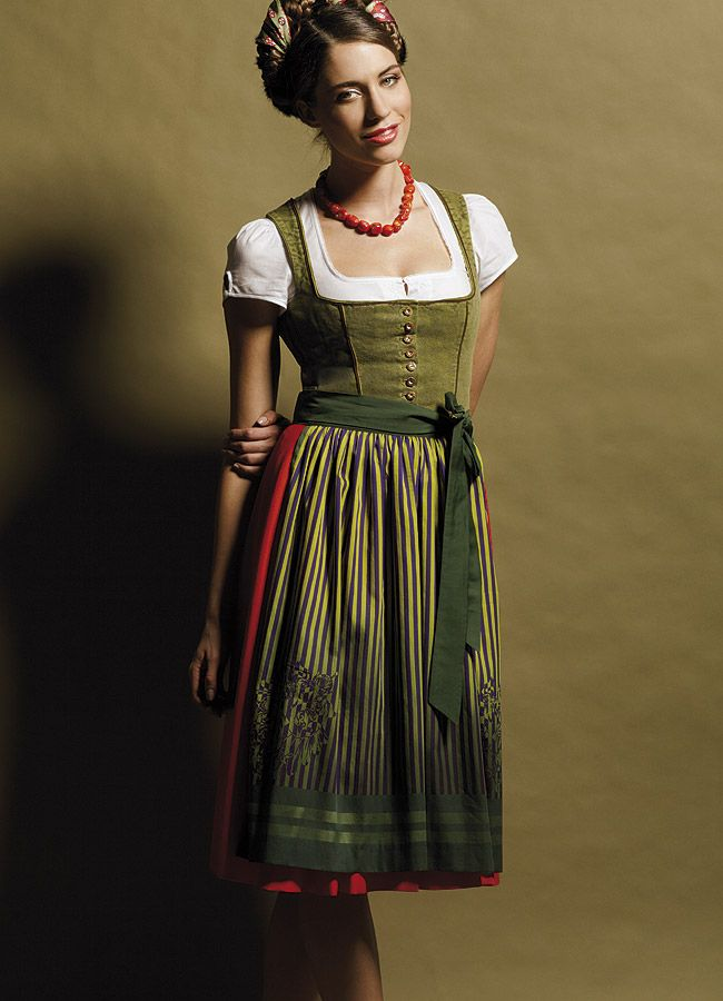 Gorgeous Green And Orange Dirndl With Striped Apron Fabric Trim In Hair