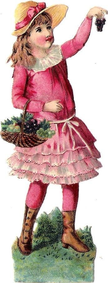 Oblaten Glanzbild scrap die cut chromo Kind child 11,6 cm Garten garden
