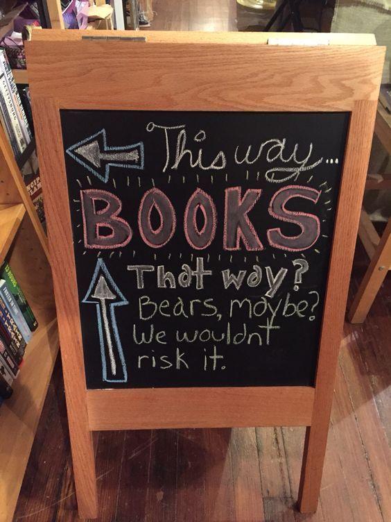 As if we needed another reason to love bookstores.   hilarious bookstore signs   book humor   bookstore humor   funny signs - Comodidade, rapidez e facilidade em comparar preços são as principais vantagens de comprar livros online nestas Livrarias em  http://mundodelivros.com/livrarias-online/