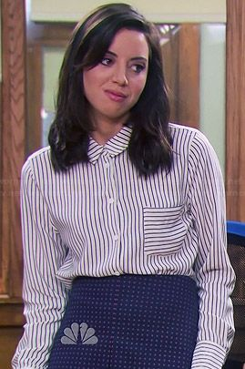 April's striped button down blouse and dotted skirt on Parks and Recreation.  Outfit Details: http://wornontv.net/44771/ #ParksandRecreation