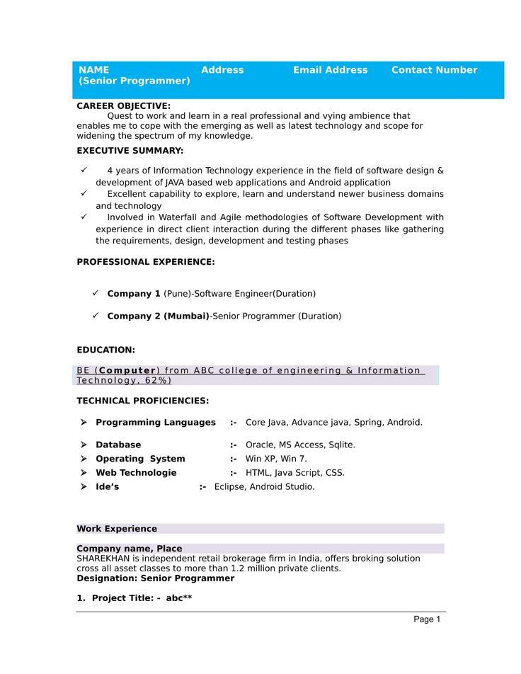standard resume format for freshers Job resume