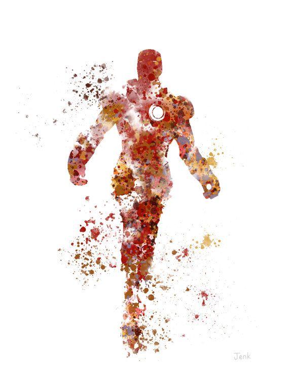 Ilustración de la impresión del arte del hombre de hierro, superhéroe, decoración casera, arte de la pared, Marvel