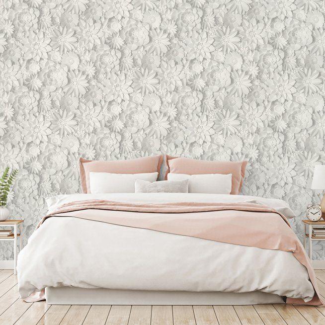 Fine Decor Medley Dacre White Floral Wallpaper White Wallpaper Decor Grey Glitter Wallpaper
