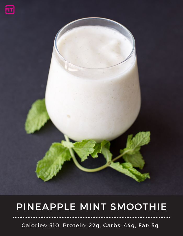 Pineapple Mint Protein Smoothie (IdealFit Protein Recipes Blog)