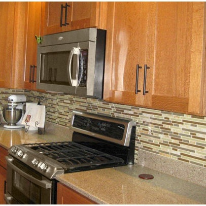 Simple changes without paint for builder grade kitchen for Builder oak countertop