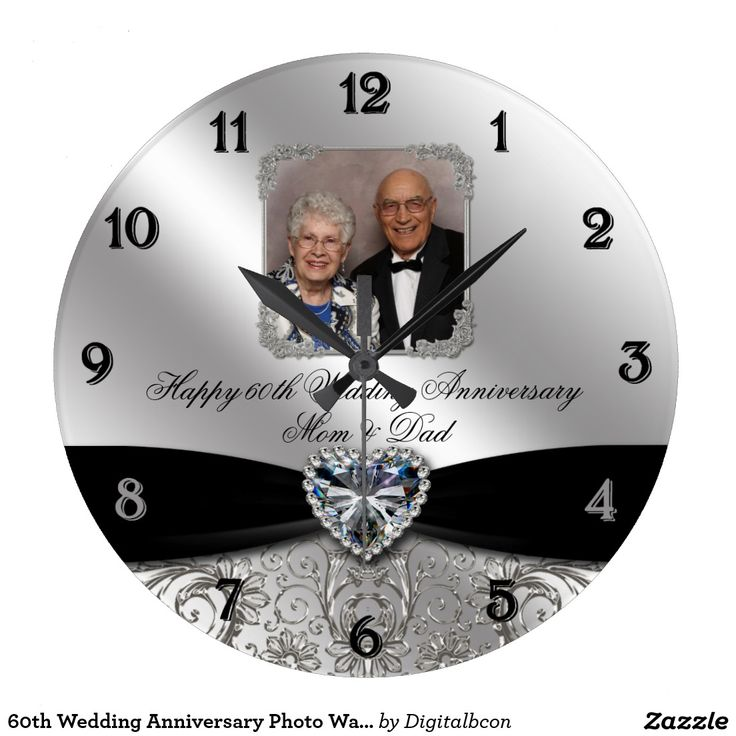 60th Wedding Anniversary Photo Wall Clock