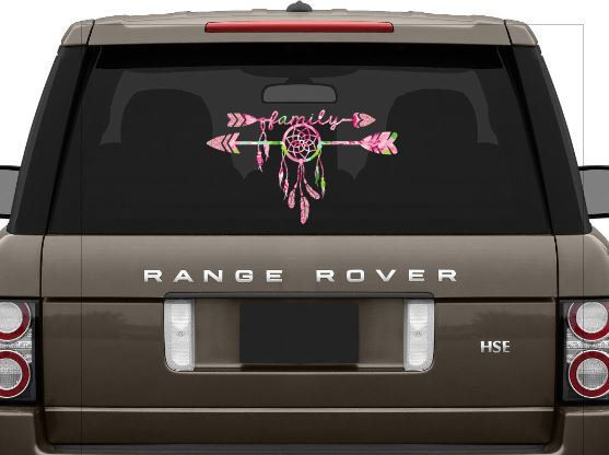 Family dreamcatcher car window decal dreamcatcher family arrow decalvinyl decalwindow decallap