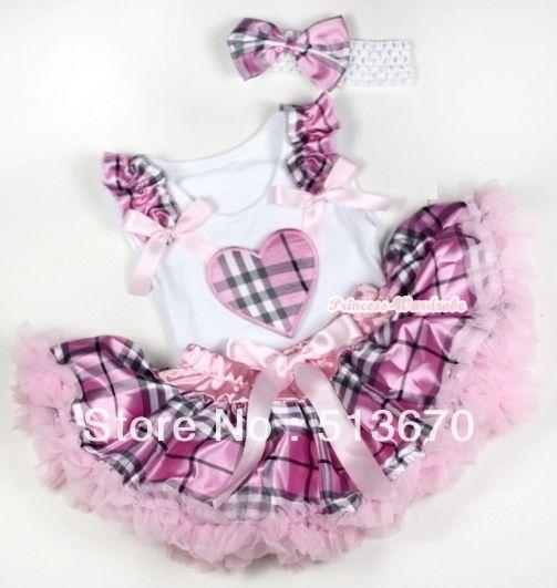 Розовый проверьте плед юбка валентина плед в форме сердца рюшами с бантом топ и белый повязка на голову светло-розовый Checkfed атласный бант MANG1152