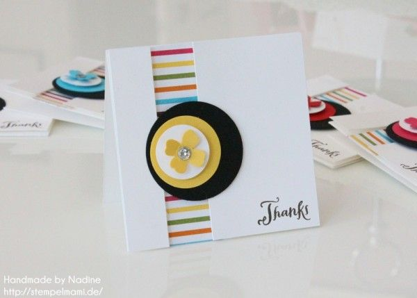 Dankeskarte, Stampin Up, Karte, Grusskarte, Greeting Card, Mini Card, Minikarten, Stempelset Another Thank You, Stanzer Itty Bitty Akzente, Designerpapier Süße Freude, #stampinup, #thankyou,