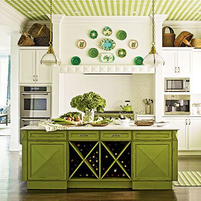 Bright idea: Give your kitchen a refresher by dressing the ceiling in green gingham wallpaper.