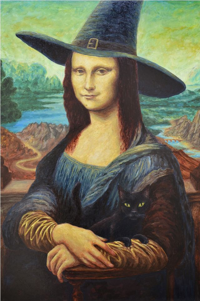 0333 Jochem Grin - Mona Lisa the witch Print this classic face and add it to a witch costume cool idea!