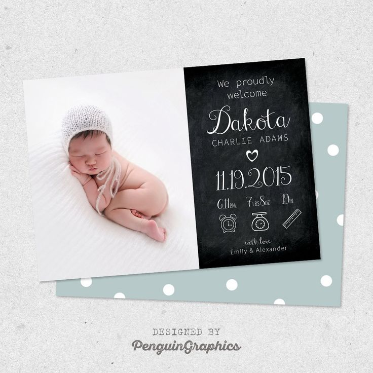 Personalized birth announcement card. Baby boy / baby girl announcement card. Custom newborn card made to order. Digital file 5x7 inch. by PenguinGraphics on Etsy
