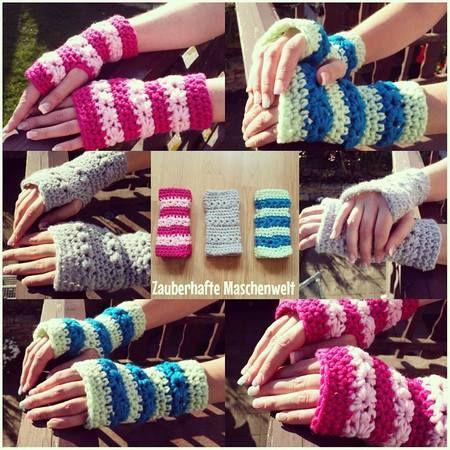 Free crochet pattern Pulse warmers with star pattern
