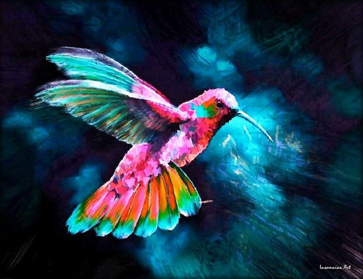 hummingbird paintings | Flying Hummingbird by Silencedmckay on deviantART