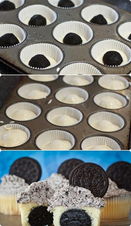 Oreo Truffle Stuffed Cupcakes With Cookies  Cream Frosting